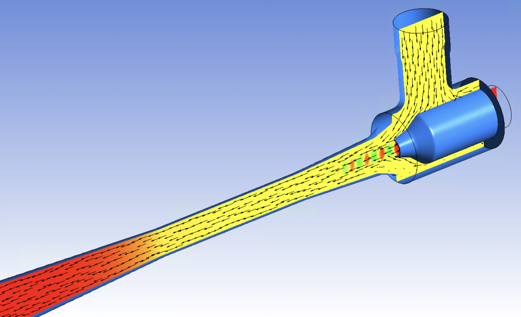 Gas jet ejector (GJE); contours are coloured by pressure showing the shock train development at the motive nozzle.